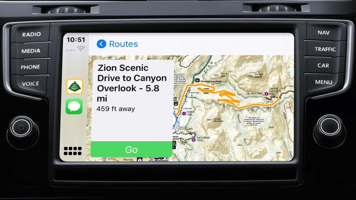 NatGeo trail map on CarPlay turn-by-turn