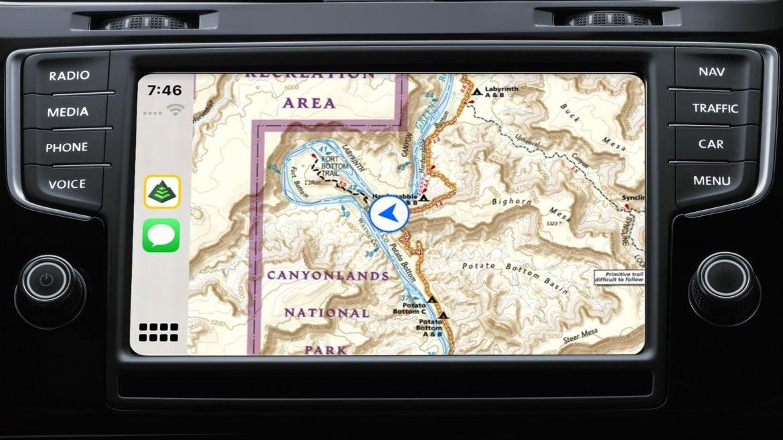 NatGeo trail map on CarPlay
